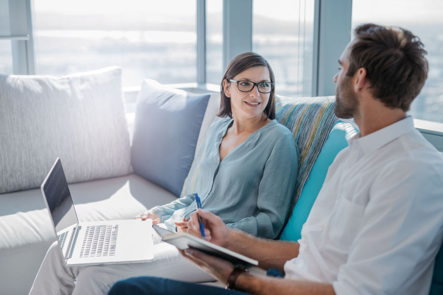 woman looking at man talking about family foundations